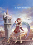 1girl :d arinko_(ta.n.ra.ra) bad_id bad_pixiv_id barefoot bird brown_eyes brown_hair building clock clock_tower dove dress gloves head_wings holding instrument open_mouth original rooftop short_hair sidelocks sky smile solo standing tower town trumpet twintails white_gloves wings