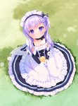 1girl :o apron azur_lane bangs belfast_(azur_lane) black_dress blush braid collarbone commentary_request day dress dutch_angle eyebrows_visible_through_hair frilled_apron frilled_dress frills gloves grass hair_between_eyes holding long_hair looking_at_viewer maid_headdress on_grass outdoors parted_lips piyodera_mucha purple_eyes purple_hair sitting solo waist_apron white_apron white_gloves younger