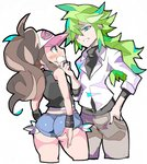 1boy 1girl antenna_hair ass bare_shoulders baseball_cap black_vest blue_eyes blue_shorts blush brown_hair cropped_legs cutoffs enpe eyebrows_visible_through_hat green_hair hand_in_pocket hand_on_another's_face hat long_hair looking_at_another micro_shorts n_(pokemon) pants pocket pokemon pokemon_(game) pokemon_bw ponytail shorts sideways_mouth simple_background sleeves_past_elbows touko_(pokemon) v-shaped_eyebrows vest white_background wristband