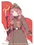 1girl alternate_costume animal animal_on_head bangs belt bow breath brown_hat commentary cowboy_shot crescent english_text frog gohei hair_bow hammer_and_sickle hat highres holding holding_weapon long_hair long_sleeves looking_at_viewer on_head patchouli_knowledge red_bow red_eyes red_flag sickle smile solo svveetberry touhou very_long_hair weapon white_background yellow_bow
