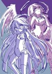 2girls absurdres android angel_wings breasts bridal_gauntlets closed_mouth crop_top cross feathered_wings hair_between_eyes halo highres jibril_(no_game_no_life) large_breasts long_hair low_wings magic_circle mechanical_parts midriff mismatched_legwear multiple_girls navel no_game_no_life shuvi_(no_game_no_life) sketch smile symbol-shaped_pupils very_long_hair wing_ears wings yuiti43