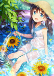 1girl absurdres bracelet brown_hair dress flower hat highres hose jewelry long_hair open_mouth original petals pool sailor_collar see-through sino_hara sitting smile solo straw_hat sunflower twintails wading_pool water wet wet_clothes