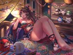 1girl aoandon ass bai_lang bare_shoulders barefoot bed bell breasts brown_hair character_doll cleavage daruma_doll doll facial_mark feet finger_to_mouth floral_print hair_intakes hair_ribbon highres japanese_clothes kimono knees_up lantern legs_together long_hair looking_at_viewer lying medium_breasts night obi off_shoulder on_back onmyoji onmyouji open_mouth paper_lantern pentagram ponytail red_eyes ribbon sash shoes sidelocks single_shoe single_sock socks solo tabi toes ubume_(onmyoji) wide_sleeves yamausagi yougen_kitsune youtouhime