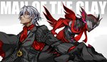 2boys antonio_salieri_(fate/grand_order) black_gloves closed_mouth cravat dual_persona engrish fate/grand_order fate_(series) formal gloves gradient gradient_background grey_background grey_hair jewelry looking_at_viewer male_focus mask multiple_boys necklace nonono_nagata pinstripe_pattern ranguage red_eyes red_gloves red_neckwear striped suit upper_body white_background