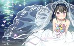 1girl 3: absurdres bangs bare_shoulders black_hair blush bouquet breasts bridal_veil bride closed_mouth collarbone dress elbow_gloves flower from_above gloves hair_ribbon highres holding holding_bouquet huge_filesize jewelry kantoku long_hair looking_at_viewer necklace necktie original plaid purple_eyes ribbon scan shizuku_(kantoku) side_ponytail sidelocks small_breasts smile solo strapless strapless_dress tsurime veil water wedding_dress white_dress white_gloves