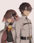 2boys astolfo_(fate) belt belt_buckle black_bow black_ribbon blue_eyes bow brown_hair buckle chaldea_uniform cloak closed_mouth commentary_request eyebrows_visible_through_hair fate/apocrypha fate/grand_order fate_(series) fujimaru_ritsuka_(male) fur-trimmed_cloak fur_collar fur_trim hair_intakes hair_ribbon highres looking_at_viewer multicolored_hair multiple_boys otoko_no_ko pink_hair purple_eyes ribbon saihate_(d3) standing streaked_hair white_cloak