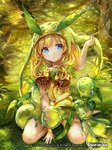1girl >o< blonde_hair blue_eyes copyright_name force_of_will grass hat leaf long_hair official_art pisuke pointy_ears sitting solo tree