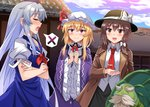 3girls :d bangs beard black_headwear black_skirt blonde_hair blue_dress blue_headwear blue_sky blush bow breasts brooch brown_coat brown_eyes brown_hair clenched_hands closed_eyes cloud coat commentary_request cowboy_shot crossed_arms day dress e.o. eyebrows_visible_through_hair facial_hair fedora frilled_shirt_collar frilled_sleeves frills genjii grey_hair hair_between_eyes hair_bow hat hat_bow hat_ribbon human_village_(touhou) jewelry kamishirasawa_keine long_hair long_sleeves looking_at_viewer maribel_hearn mob_cap multiple_girls mustache neck_ribbon neckerchief necktie open_clothes open_coat open_mouth outdoors pink_eyes profile puffy_short_sleeves puffy_sleeves purple_dress red_neckwear red_ribbon ribbon shirt short_hair short_sleeves sidelocks silver_hair skirt sky small_breasts smile spoken_x standing thick_eyebrows touhou touhou_(pc-98) turtle usami_renko very_long_hair white_bow white_headwear white_shirt wide_sleeves wing_collar