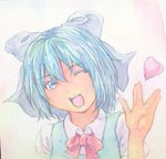 1girl :d acrylic_paint_(medium) blue_eyes blue_hair bow cirno eyelashes graphite_(medium) hair_bow head_tilt heart looking_at_viewer open_mouth ribbon short_hair smile solo touhou traditional_media upper_body vulcan_salute watercolor_(medium) white_background yuyu_(00365676)
