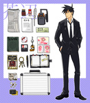 1boy akutabe bag book briefcase coin food formal jerky key keychain male_focus money newspaper no_eyebrows photo_(object) quill solo suit yondemasu_yo_azazel-san.