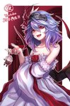 1girl :d adapted_costume bangs bare_shoulders bat_wings blue_hair border collarbone commentary_request cowboy_shot detached_sleeves dress fang flower fur-trimmed_sleeves fur_trim gradient_hair hair_between_eyes hair_ribbon hand_up izayoi_sakuya keychain long_sleeves looking_at_viewer multicolored_hair no_hat no_headwear o_o open_mouth outside_border purple_hair re_(re_09) red_eyes red_flower red_ribbon red_rose remilia_scarlet ribbon rose short_hair smile solo standing strapless strapless_dress touhou translation_request white_border white_dress wide_sleeves wings