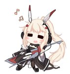 1girl =_= ayanami_(azur_lane) azur_lane bailingxiao_jiu bangs bare_shoulders beamed_eighth_notes black_footwear black_jacket black_legwear black_shorts blonde_hair blush closed_eyes eighth_note eyebrows_visible_through_hair facing_viewer fang headgear headphones high_ponytail jacket long_hair long_sleeves musical_note off_shoulder open_mouth pantyhose ponytail short_shorts shorts sidelocks simple_background solo very_long_hair white_background wide_sleeves