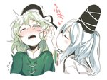 2girls =3 asutora black_headwear black_ribbon blowing_in_ear blush closed_eyes commentary_request cropped_torso dress drooling from_side green_dress green_eyes green_hair hair_between_eyes half_updo hat hat_ribbon long_sleeves mononobe_no_futo multiple_girls nose_blush one_eye_closed open_mouth profile ribbon ribbon-trimmed_sleeves ribbon_trim shirt short_hair sidelocks silver_hair simple_background soga_no_tojiko tate_eboshi tears touhou translated upper_body white_background white_shirt yuri