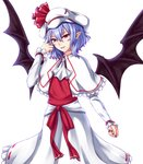 1girl bat_wings blue_hair capelet cowboy_shot cravat curled_fingers dress eyebrows_visible_through_hair fangs fangs_out frilled_skirt frills hair_between_eyes hand_in_hair hat hat_ribbon head_tilt highres layered_dress light_smile looking_at_viewer nail_polish pointy_ears red_nails red_ribbon red_vest remilia_scarlet ribbon short_hair simple_background skirt solo standing touhou vest white_background white_capelet white_hat white_neckwear white_skirt wings zeramu