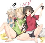 3girls ahoge alternate_costume artist_name bangs barefoot black_hair black_ribbon black_shorts blanket blonde_hair casual chips commentary contemporary controller eating english_commentary english_text fate/grand_order fate_(series) feet food game_controller grey_eyes hair_ribbon highres ishita_umi koha-ace long_hair multiple_girls object_hug oda_nobunaga_(fate) okita_souji_(alter)_(fate) okita_souji_(fate) okita_souji_(fate)_(all) open_mouth pillow platinum_blonde_hair playing_games potato_chips red_eyes ribbon shirt short_hair short_shorts shorts signature simple_background sitting stuffed_animal stuffed_shark stuffed_toy sweatdrop t-shirt very_long_hair white_background yellow_eyes