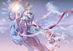 2girls :o absurdres animal_ears arm_up blue_short blue_wings bow breasts brown_hair bunny_ears child cloud feathers grabbing hair_bow hair_feathers highres hihisou_(pan-kun) looking_at_another medium_breasts midair multicolored_hair multiple_girls orb pink_bow pink_shirt puffy_shorts red_eyes red_ribbon ribbon shirt shoes short_sleeves shorts sky streaked_hair tassel updo wings