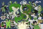 6+boys :o annoyed antennae armor babidi blue_background braid cape cell_(dragon_ball) cell_junior color_connection commentary_request costume cup dende dragon dragon_ball dragon_ball_(classic) dragon_ball_(object) dragon_ball_super dragon_ball_z drinking dual_persona earrings father_and_son floating_hair frown full_body fused_zamasu glasses gloves glowing great_saiyaman green_theme grey_hair grin guldo halo happy highres holding jewelry kami-sama looking_at_viewer looking_away multiple_boys muuri_(dragon_ball) nail_(dragon_ball) nervous nishimu_(nishimu246246) outstretched_arms perfect_cell piccolo pikkon pointy_ears porunga potara_earrings saibaiman saichoro saucer seiza shaking shenlong_(dragon_ball) sign simple_background sitting smile son_gohan son_gokuu sportswear standing sweatdrop tea teacup trait_connection translated turban turtle_costume zamasu zarbon