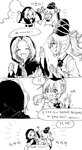 2girls 4koma :d ?? ^_^ closed_eyes cloud comic commentary_request hat high_five highres hood jewelry korean kumoi_ichirin misha_(hoongju) monochrome mononobe_no_futo multiple_girls necklace open_mouth ponytail ring smile tate_eboshi touhou translation_request v