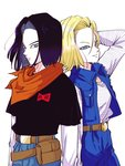 1boy 1girl absurdres android_17 android_18 arm_at_side arms_at_sides back-to-back belt black_hair black_shirt blonde_hair blue_eyes brother_and_sister denim denim_skirt dragon_ball dragon_ball_z expressionless fanny_pack floating_hair hand_in_hair highres horizontal_stripes jeans light_smile long_sleeves looking_away miiko_(drops7) neckerchief orange_neckwear pants red_ribbon_army shirt short_hair short_sleeves siblings simple_background skirt smile standing striped striped_shirt twins upper_body white_background