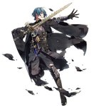 1boy 88_taho aqua_hair armor bangs black_pants blue_eyes byleth byleth_(male) clenched_teeth dagger fire_emblem fire_emblem:_three_houses fire_emblem_heroes full_body gauntlets gloves hand_up highres holding holding_sword holding_weapon leg_up long_sleeves looking_away male_focus official_art pants parted_lips shiny shiny_hair short_hair solo sword teeth torn_clothes torn_pants transparent_background weapon