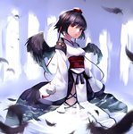 1girl bad_id black_hair feathered_wings feathers hat kourindou_tengu_costume long_sleeves looking_at_viewer obi partially_submerged red_eyes ribbon_trim sash settyaro shameimaru_aya short_hair solo tokin_hat touhou water wings