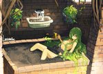 1girl artist_name breasts brick_wall brown_eyes commentary_request dirt fountain green_hair hair_censor hair_over_one_eye lansane long_hair monster_girl original plant plant_girl plant_hair planter sidelocks signature sitting small_breasts smile solo topless vines watering_can window