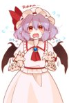 1girl afterimage ascot bat_wings brooch commentary_request fang flying_sweatdrops gotoh510 hat hat_ribbon highres jewelry lavender_hair looking_at_viewer mob_cap nail_polish open_mouth pointy_ears puffy_short_sleeves puffy_sleeves red_eyes red_nails red_ribbon remilia_scarlet ribbon short_sleeves simple_background skirt skirt_set solo tears touhou wavy_mouth white_background white_skirt wings