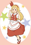 1girl apron blonde_hair chii-kun_(seedyoulater) double_v ellen full_body hair_ribbon hairband long_hair looking_at_viewer mary_janes open_mouth puffy_short_sleeves puffy_sleeves red_footwear red_ribbon red_skirt red_vest ribbon shoes short_sleeves skirt skirt_set socks solo star touhou touhou_(pc-98) v vest waist_apron white_legwear