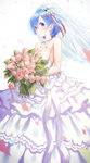 1girl bare_shoulders blue_eyes blue_hair blush bouquet bridal_veil dress flower hair_ornament hair_ribbon jewelry necklace petals re:zero_kara_hajimeru_isekai_seikatsu rem_(re:zero) ribbon simple_background solo veil wedding_dress x_hair_ornament yasuyuki