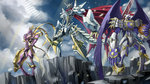 armor cape claws cliff clothes cloud digimon dk_(13855103534) dual_wielding dynasmon flower head_wings highres horn horns jesmon lordknightmon multiple_swords no_humans red_eyes rose sash shield sky spikes sunlight sword tail torn_wings weapon wings