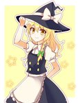 1girl adjusting_clothes adjusting_hat apron arm_behind_back blonde_hair blouse bow braid cowboy_shot hat hat_bow kirisame_marisa long_hair looking_at_viewer outline puffy_short_sleeves puffy_sleeves short_sleeves side_braid sketch skirt smile solo star touhou vest witch_hat yada_(xxxadaman) yellow_eyes