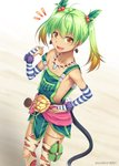 1girl :d ahoge animal_print bandages belt_buckle bottle breasts buckle cherry_hair_ornament detached_sleeves earrings flat_chest food_themed_hair_ornament fur_trim green_hair hair_ornament jewelry loose_clothes miyai_sen necklace open_mouth orange_eyes overalls ricotta_(ys) sideboob simple_background smile tail thighhighs tooth_necklace twintails water_bottle watermark ys ys_viii_lacrimosa_of_dana