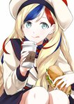 1girl beret blonde_hair blue_eyes blue_hair coffee_cup commandant_teste_(kantai_collection) cup food hat highres holding holding_cup holding_food jacket kantai_collection long_hair long_sleeves morinaga_(harumori) plaid plaid_scarf pom_pom_(clothes) red_hair sandwich scarf simple_background smile solo tongue tongue_out white_background white_hair white_jacket