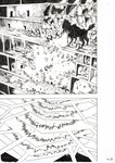 1boy absurdres action attack building busaiku debris destruction energy_beam explosion fleeing greyscale highres monochrome monster murata_yuusuke official_art one-punch_man overgrown_rover page_number scan traditional_media work_in_progress