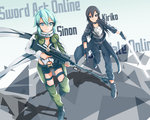 1boy 1girl absurdres anti-materiel_rifle aoi_kao_(lsz7106) aqua_eyes aqua_hair black_eyes black_hair breastplate energy_sword fingerless_gloves gloves gun highres kirito kirito_(sao-ggo) long_hair otoko_no_ko rifle scarf shinon_(sao) short_hair short_shorts shorts sniper_rifle sword sword_art_online weapon
