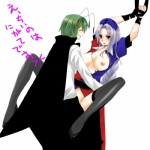 2girls antennae bad_id bad_pixiv_id bdsm black_legwear bondage bottomless bound braid breasts cape green_hair hat large_breasts long_hair multiple_girls nipples no_panties open_clothes open_shirt sex shirt short_hair silver_hair thighhighs touhou wriggle_nightbug yagokoro_eirin yuri yutazou