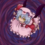 1girl blue_hair from_above hat looking_up purple_background remilia_scarlet seki_(red_shine) smile solo touhou wings wrist_cuffs yellow_eyes