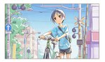 1girl bag bicycle blue_shirt commentary_request cowboy_shot day frame ground_vehicle gym_shorts hand_on_handle kurosaki_honoka lamppost matsuo_yuusuke oversized_clothes oversized_shirt road_sign shirt shorts shoulder_bag sign sky solo sweat tree walking_bike yama_no_susume