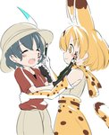 2girls :3 :d ^_^ animal_ears bare_shoulders black_gloves black_hair blonde_hair blush body_writing closed_eyes elbow_gloves extra_ears eyebrows_visible_through_hair face_painting facing_another gloves hand_on_another's_waist hat hat_feather highres hiyama_yuki kaban_(kemono_friends) kemono_friends looking_at_another multiple_girls open_mouth paintbrush print_gloves print_neckwear print_skirt red_shirt serval_(kemono_friends) serval_ears serval_print serval_tail shirt short_hair short_sleeves shorts simple_background skirt sleeveless sleeveless_shirt smile tail translated white_background white_headwear white_shirt white_shorts yellow_eyes