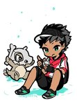 1boy artist_name backpack bag black_gloves black_hair bone cellphone cubone dark_skin dark_skinned_male fingerless_gloves gloves green_hair hood hoodie mago male_protagonist_(pokemon_go) phone pokemon pokemon_(creature) pokemon_(game) pokemon_go shoes shorts simple_background sitting smartphone sneakers visor_cap white_background