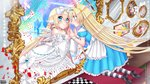 alice_(wonderland) animal_ears bare_shoulders black_footwear blonde_hair blue_dress blue_hairband bookshelf bow bunny_ears card checkered checkered_floor choker copyright_name cross different_reflection dress dress_bow eye_contact frilled_dress frills hair_between_eyes hair_bow hairband head_wings highres kerberos_blade kneeling long_hair looking_at_another mirror official_art painting_(object) pantyhose petals playing_card puffy_short_sleeves puffy_sleeves reflection short_sleeves sorakase_sawa striped striped_legwear very_long_hair white_bow white_choker white_dress white_wings wings wrist_cuffs