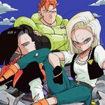 1girl 2boys android_16 android_17 android_18 belt black_footwear black_gloves black_hair black_shirt blonde_hair blue_eyes blue_sky bracelet brother_and_sister cloud cloudy_sky commentary_request crossed_arms day denim dirty dirty_clothes dirty_face dragon_ball dragon_ball_z earrings elbow_rest expressionless eyelashes fingernails frown gloves jeans jewelry long_sleeves looking_away looking_back messy_hair multiple_boys neckerchief necklace orange_hair orange_legwear orange_neckwear outdoors pants pearl_necklace red_ribbon_army rock serious shaded_face shirt short_hair siblings single_earring sitting sky socks spiked_hair tkgsize twins twitter_username waistcoat white_shirt
