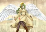 1girl :/ angel_wings aqua_eyes arms_at_sides bangs belt black_legwear black_ribbon boots breasts brown_belt brown_footwear building buttons choker closed_mouth cross-laced_footwear dress elona eyebrows eyelashes facing_away feathered_wings feathers frilled_sleeves frills frown gem goddess green_hair hair_between_eyes hat head_wings highres holding holding_spear holding_weapon juliet_sleeves jure_of_healing knees_together_feet_apart lace lace-up_boots lace_trim long_hair long_sleeves looking_at_viewer mia_(yanaginiame) multicolored_hair orange_hair pantyhose platform_boots platform_footwear polearm puffy_long_sleeves puffy_sleeves red_neckwear ribbon ribbon-trimmed_clothes ribbon-trimmed_sleeves ribbon_trim sidelocks small_breasts solo spear turtleneck two-tone_hair wavy_hair weapon white_wings wide_sleeves wings yellow_dress yellow_hat