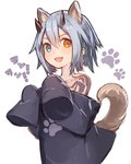 1girl animal_ears blue_eyes blue_hair commentary_request dog_ears dog_girl dog_tail fang heterochromia horns io_(pso2) long_sleeves looking_at_viewer paw_pose paw_print phantasy_star phantasy_star_online_2 rk_(rktorinegi) short_hair sleeves_past_fingers sleeves_past_wrists smile solo tail