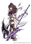 1girl armor armored_boots armpit_cutout black_shirt black_skirt boots breasts brown_hair brown_legwear faulds full_body garter_straps gauntlets hand_up holding holding_scythe knee_boots large_breasts lily_bloomerchen long_hair looking_at_viewer looking_to_the_side miniskirt official_art parted_lips ponytail puffy_sleeves rainmaker red_eyes scythe shirt simple_background skirt smile solo soul_worker standing thighhighs wavy_hair white_background zettai_ryouiki