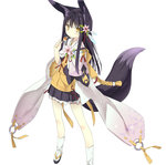 1girl animal_ears black_hair borrowed_character eating flower food fox_ears fox_tail full_body geta hair_flower hair_ornament highres japanese_clothes kuromitsu_nene lolita_fashion long_hair looking_at_viewer original solo standing tabi tail tameiki wa_lolita wide_sleeves yellow_eyes