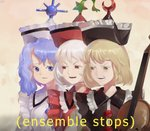3girls blonde_hair blue_eyes blue_hair buttons crescent dated disgust english_text frills frown glaring hat instrument jazz_music_stops lunasa_prismriver lyrica_prismriver meme merlin_prismriver multiple_girls open_mouth red_eyes riki6 signature simple_background star teeth touhou violin white_hair yellow_eyes