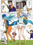 1boy 4koma aqua_hair armor ass bikini_armor bodysuit breasts cape circlet cleavage comic commentary_request dragon_quest dragon_quest_iii elbow_gloves gloves hat helmet imaichi long_hair mitre multiple_girls navel open_mouth orange_bodysuit panties pantyshot priest_(dq3) purple_hair red_armor roto sage_(dq3) smile soldier_(dq3) staff sword tabard underwear weapon winged_helmet