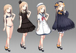 1girl :o abigail_williams_(fate/grand_order) alternate_costume anchor_symbol arm_at_side bangs bare_legs bell_(oppore_coppore) beret black_bow black_bra black_dress black_footwear black_hat black_panties blonde_hair bloomers blue_eyes blush bow bra breasts closed_mouth collarbone criss-cross_halter dress fate/grand_order fate_(series) fedora forehead full_body grey_background hair_bow halterneck hat hat_bow head_tilt high_heels highres light_brown_hair long_hair long_sleeves looking_at_viewer navel neckerchief no_socks open_mouth orange_bow panties parted_bangs polka_dot polka_dot_bow puffy_long_sleeves puffy_short_sleeves puffy_sleeves red_neckwear ribbon-trimmed_bra sailor_dress sailor_hat shoes short_sleeves sleeves_past_fingers sleeves_past_wrists small_breasts smile standing straight_hair top_hat underwear underwear_only very_long_hair white_dress white_hat
