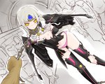 1girl arm_behind_back blush chain code:_nemesis_(elsword) coladaisuki crack elsword eve_(elsword) facial_mark forehead_jewel long_hair nipples one_breast_out panties pink_panties restrained silver_hair torn_clothes underwear wings yellow_eyes